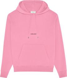 Saint Laurent Pink Small Logo Print Hoodie
