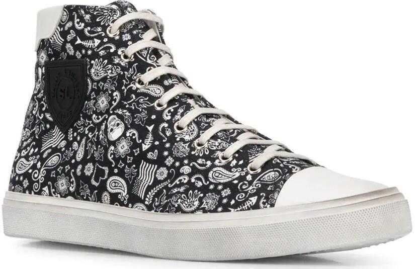 Saint Laurent Skull Print High Top Sneakers