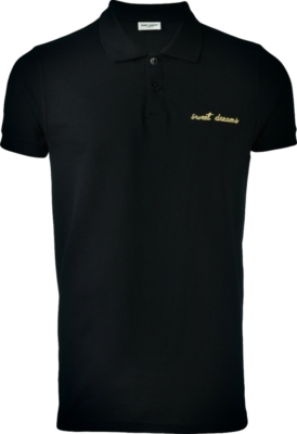 Saint Laurent Sweet Dreams Embroidered Black Polo