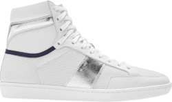 Saint Laurent White And Silver Classic Court High Top Sneakers