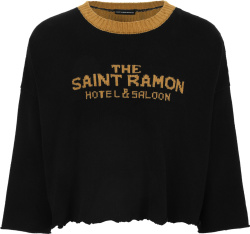 Saint Ramon Black And Gold Hotel Cropped Sweater