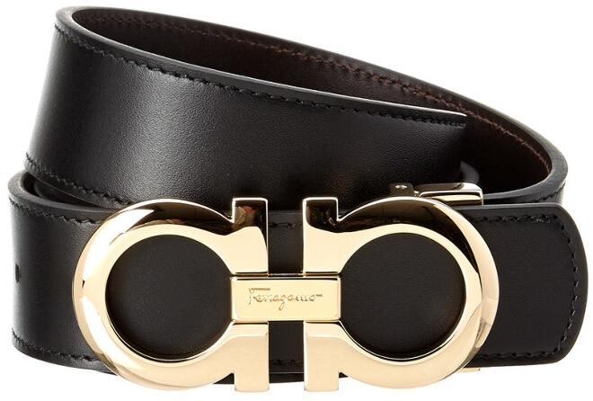 Gold Gancini Buckle Black Leather Belt