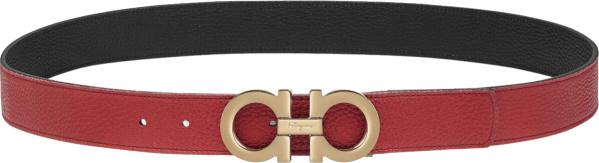 Salvatore Ferragamo Red Black Reversible Gancini Belt