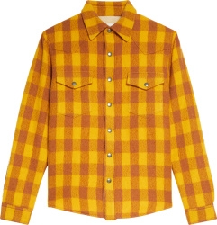 Sandro Paris Yellow And Brown Check Flannel Shirt