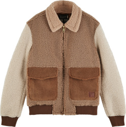 Scotch And Soda Brown Sherpa Fleece Jacket