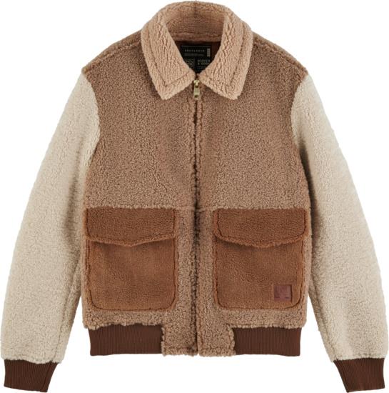 Scotch And Soda Brown Sherpa Fleece Jacket