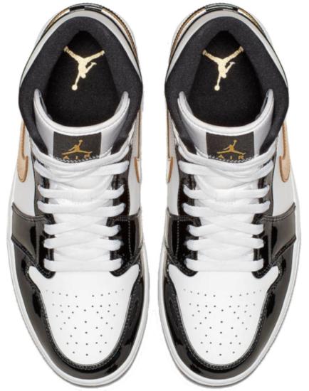 Shiny Black And Gold High Top Jordans