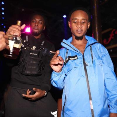 Slim Jxmmi Wearing A Light Blue Moncler Downbeat Jacket