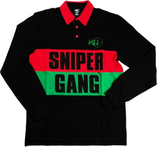 Sniper Gang Red Green Stripe Black Polo Shirt