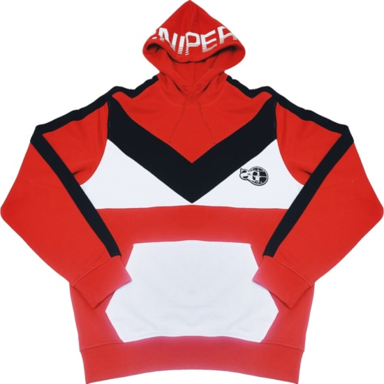 Sniper Gang Red White Black Colorblock Hoodie