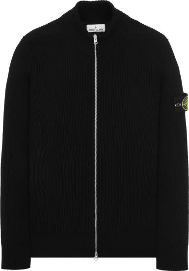 Stone Island Black Ribbed Knit Zip Cardigan