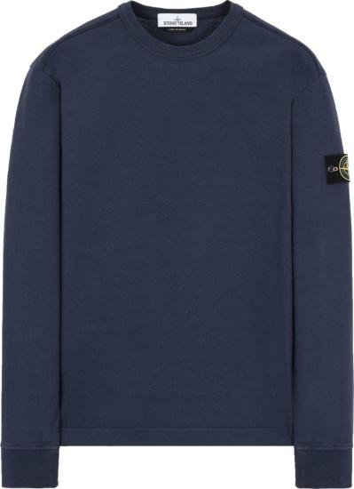 Stone Island Navy Blue Logo Patch Sweatshirt