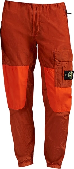 Stone Island Orange Cargo Jogging Pants