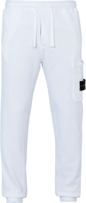 Stone Island White Cargo Sweatpants