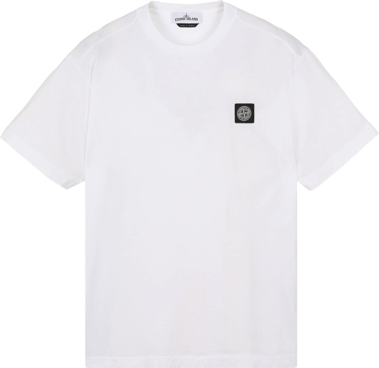 Stone Island White Compass Logo Patch T Shirt