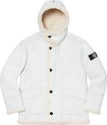 Stone Island X Supreme White Sherpa Lined Hooded Jacket