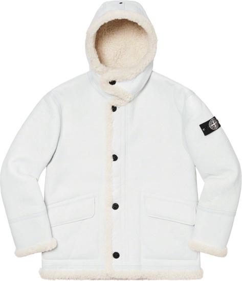 Stone Island X Supreme White Sherpa Lined Hooded Jacket