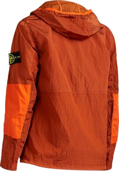 Stone Island Xo Barneys Orange Garment Dyed Hoodied Jacket
