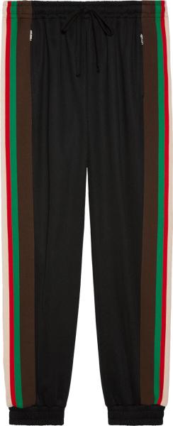Striped Side Panel Black Trackpants