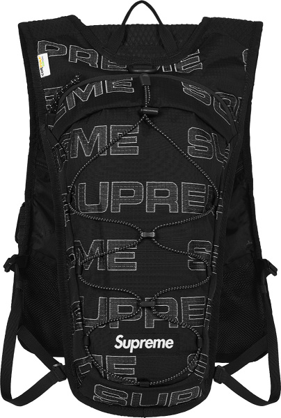 Supreme Black And Allover Logo Cargo Vest