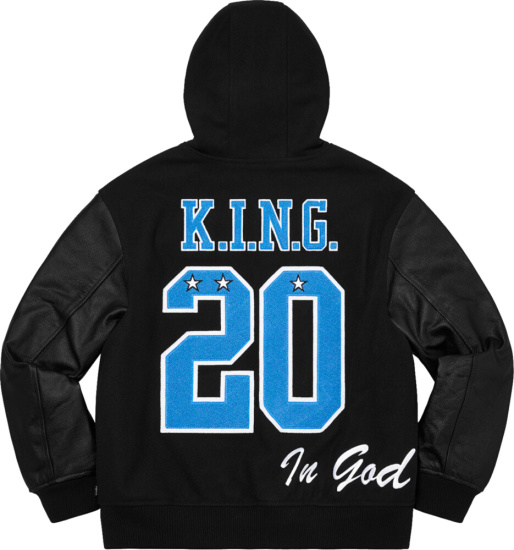 Supreme Black And Blue Hooded Varsity Jacket King 20