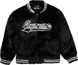 Supreme Black Faux Fur Varsity Jacket