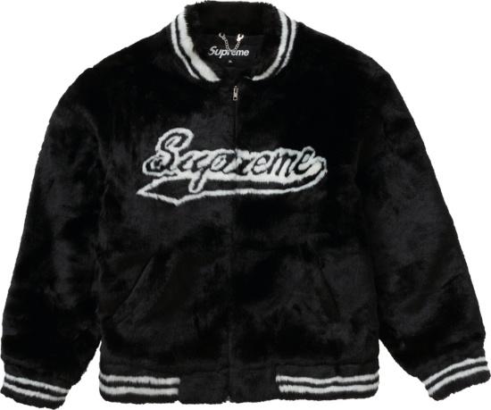 Supreme Black Faux Fur Varsity Jacket