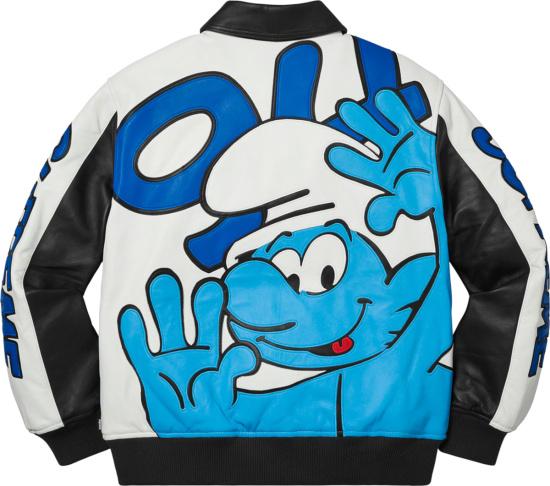 Supreme Black Leather And Blue Sleeve Logo Bomber Jacket