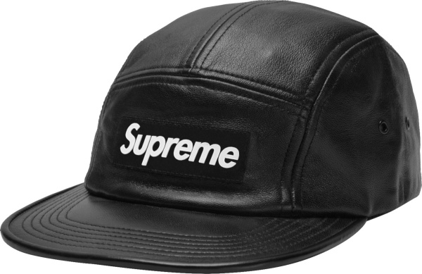 Supreme Black Leather Camp Hat
