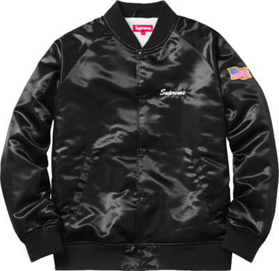 Supreme Black Satin Bomber Jacket American Flag Patch