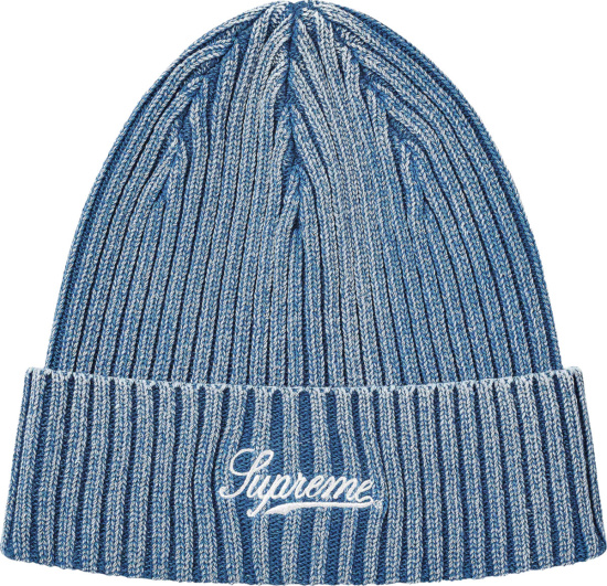Supreme Blue Bleached Ribbed Knit Beanie