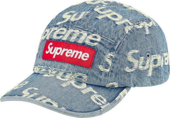Supreme Blue Denim And Allover Frayed Logo Hat