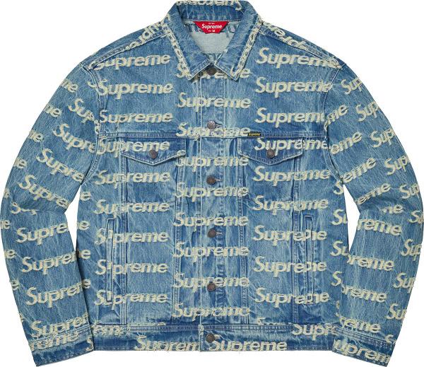 Supreme Blue Denim And Allover Frayed Logo Jacket