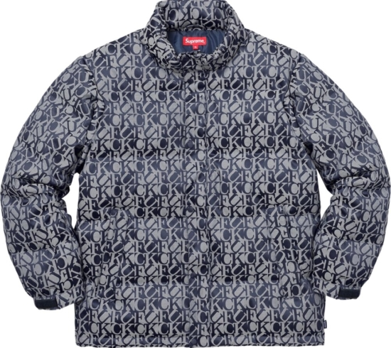 Supreme Fuck Puffer Jacket Navy