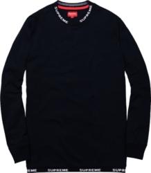 Supreme Fw14 Rib Logo Black Long Sleeve Shirt