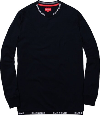Supreme Fw14 Rib Logo Black Long Sleeve Shirt