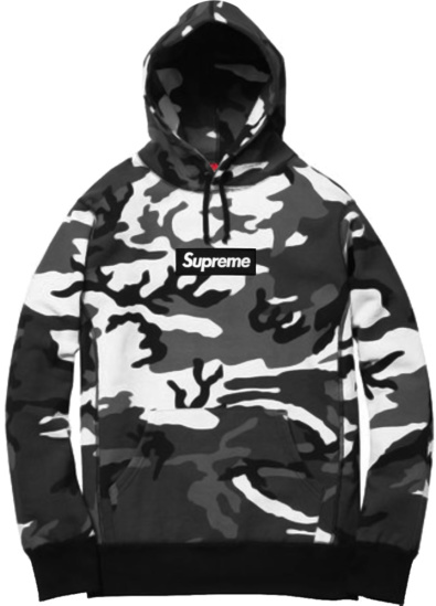 Supreme Grey Black White Snow Camo Box Logo Fw13 Hoodie