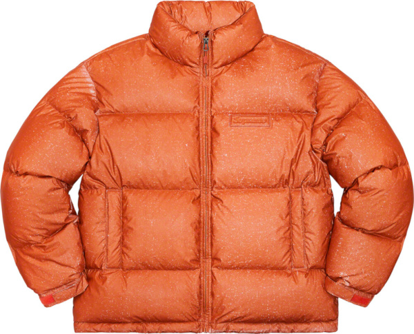 Supreme Orange Metallic Speckled Puffer Jacket