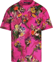 Supreme Pink Floral Print And Embroiderd T Shirt