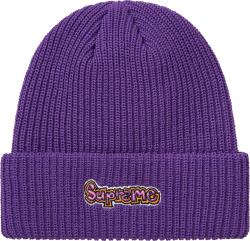 Supreme Purple Gonz Logo Beanie