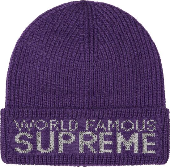 Supreme Purple World Famous Beanie
