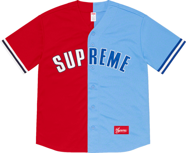 Supreme Red And Light Blue Dont Hate Baseball Jersey