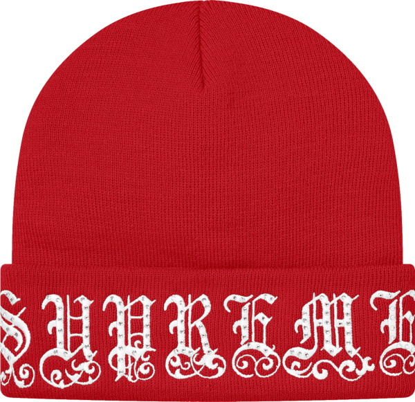 Supreme Red And White Embellished Old English Beanie