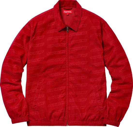 Supreme Red Corduroy Debossed Logo Jacket