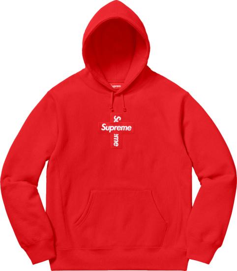 Supreme Red Cross Box Logo Hoodie