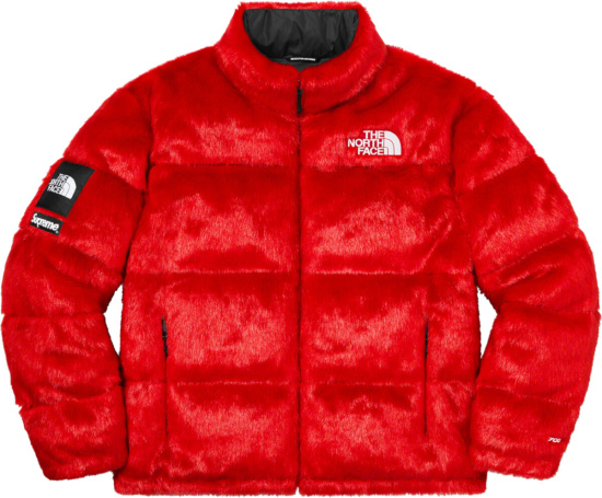 Supreme Red Fur Nuptse Puffer Jacket