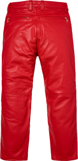 Supreme Red Leather Skeleton Pants