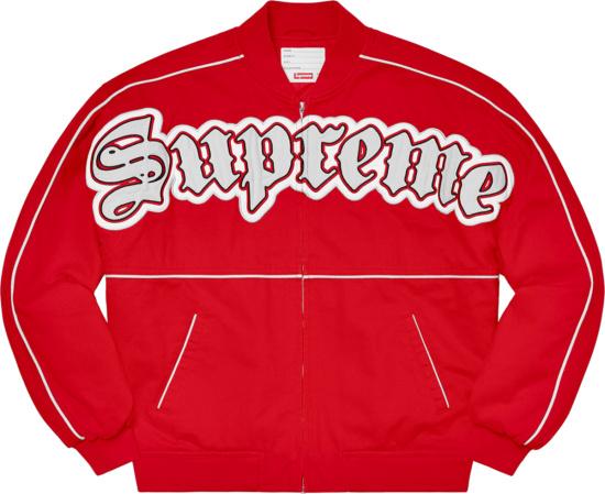 Supreme Red Old English Logo Varsity Jacket