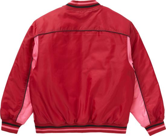 Supreme Red Pink Fw20 New York Varsity Jacket