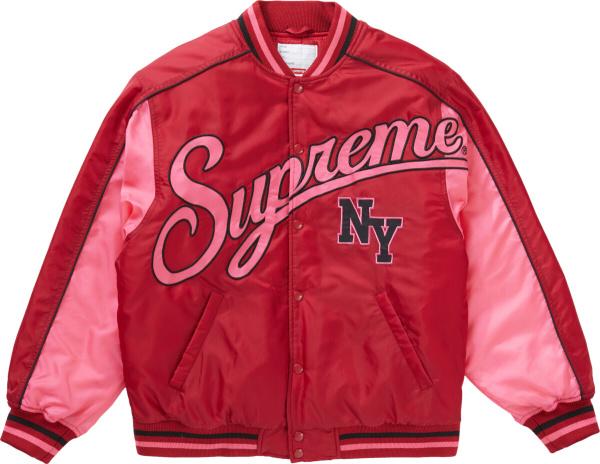 Supreme Red Pink New York Varsity Jacket